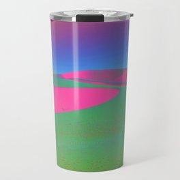 Psychedelic Sand Dunes - Pink Green Blue Travel Mug