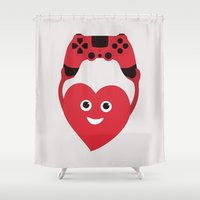 gaming Shower Curtains featuring Gaming Heart by Boriana Giormova