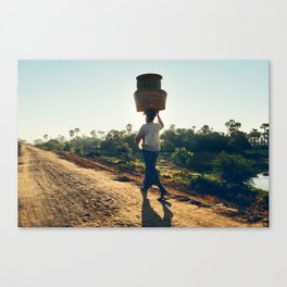 Lonely Burmese Farmer Canvas Print