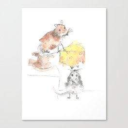 Little Mice, cheese and the story of teamwork Canvas Print