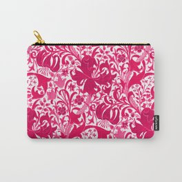 William Morris Iris and Lily, Fuchsia Pink and Burgundy Carry-All Pouch