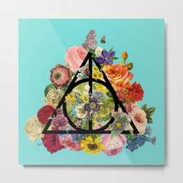 Floral Deathly Hallows - Tiffany Blue Metal Print