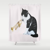 trumpet Shower Curtains featuring Trumpet Cat by Jaume Serra/Collage