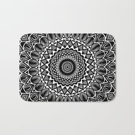 Detailed Black and White Mandala Bath Mat