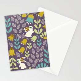 Bunnies Amid Enchanted Tulips Stationery Cards