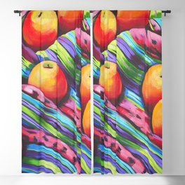Fruit on Striped Cloth Blackout Curtain