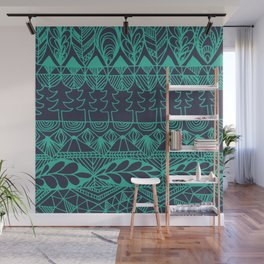 Mountain Tapestry in Midnight Teal Wall Mural