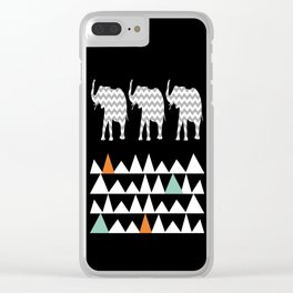 Tribal Elephants, Aztec Andes Pattern Clear iPhone Case