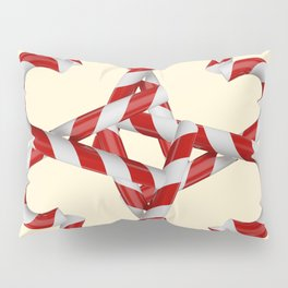 CREAMY YELLOW  RED-WHITE PINK  CHRISTMAS CANDY CANES Pillow Sham