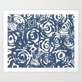Navy Flower Bundle Art Print