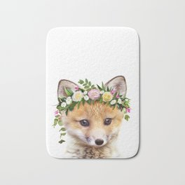 Baby Fox With Flower Crown, Baby Animals Art Print By Synplus Bath Mat