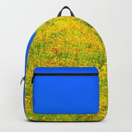 yellow poppy flower field with green leaf and clear blue sky Backpack