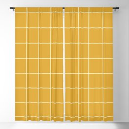 Yellow #9 Grid Stripe Lines Minimalist Geometric Line Stripes Blackout Curtain