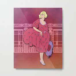 AUDREY: Art Deco Lady in Wine and Lavender Metal Print