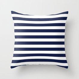 Navy Blue Nautical Stripe H Minimal Throw Pillow