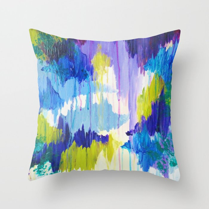 Winter Dreaming Jewel Tone Colorful Eggplant Plum Periwinkle Purple Chevron Ikat Abstract Painting Throw Pillow