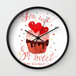 Valentines day lettering art Wall Clock