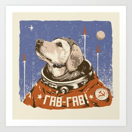 Soviet Space Dog Art Print