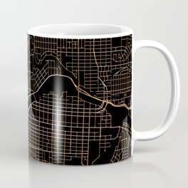 Black and gold Calgary map Coffee Mug