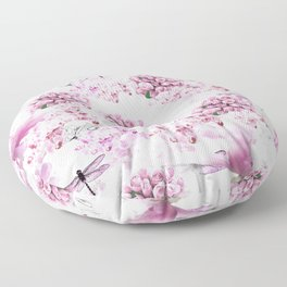 ORCHIDS ROSES MAGNOLIAS and Dragonflies Floor Pillow