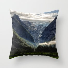 Mountains and Glaciers - Norway Throw Pillow