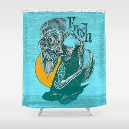 Fresh Blue Ice Cream Shower Curtain