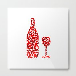 A potion of love- bottle and glass with red hearts Metal Print