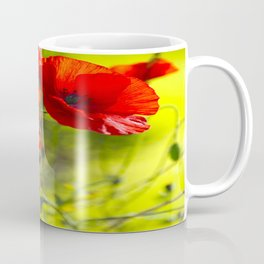 Red Poppies on green background #decor #buyart #society6 Coffee Mug