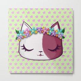 Flowers kitty Metal Print