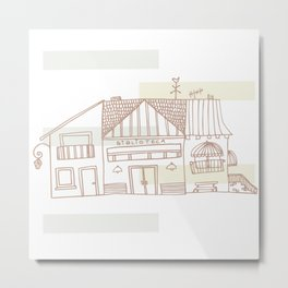 Library and Houses Metal Print