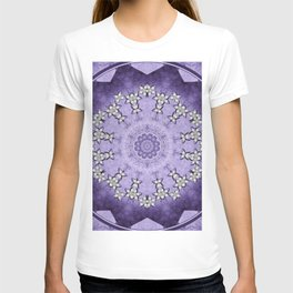Silver flowers on deep purple textured mandala disc T-shirt