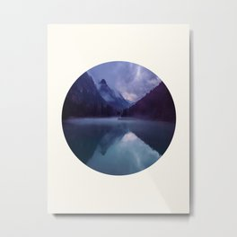 Mid Century Modern Round Circle Photo Reflective Purple And Blue Mountain Silhouette With Lake Metal Print