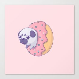 Little pug in donut Canvas Print