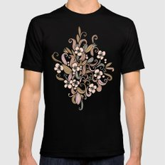 Floral curve pattern, rose gold Mens Fitted Tee Black MEDIUM