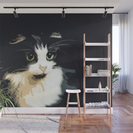 Cute Black and White Tuxedo Cat Wall Mural