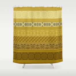 Yellow striped patchwork Shower Curtain