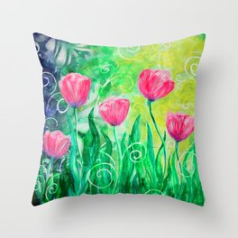 Dancing Tulips by Jan Marvin Throw Pillow