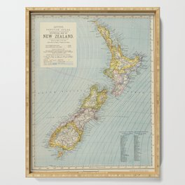 Vintage Map of New Zealand (1883) Serving Tray