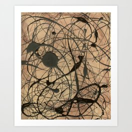 Pollock Inspired Abstract Black On Beige Art Print