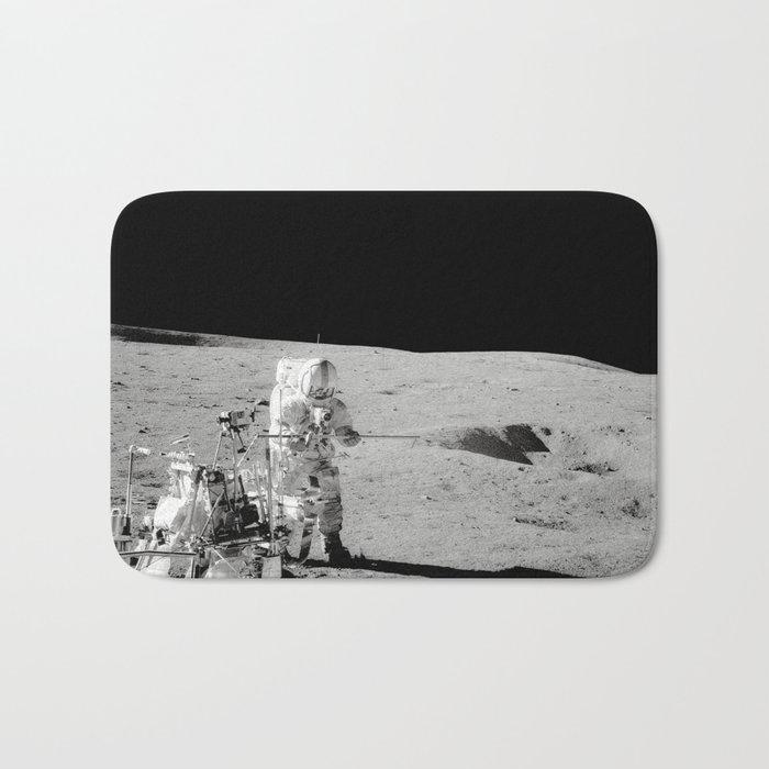 Apollo 14 - Black & White Moon Work Bath Mat