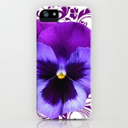 LILAC PURPLE PANSY SPRING FLORAL PATTERN iPhone Case