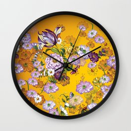 Purple Flowers III Wall Clock