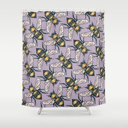 Honey Bees on Purple Shower Curtain