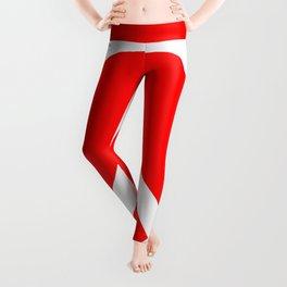 Peace (White & Red) Leggings