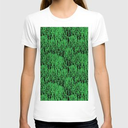 Cascading Wisteria in Green + Black T-shirt