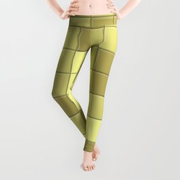 Lime Green Olive Small Tiles Collage Leggings