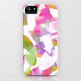 Multicolour Watercolor Spring Abstract, White on Orange, Lavender, Pink and Lime Green Geo Pattern I iPhone Case
