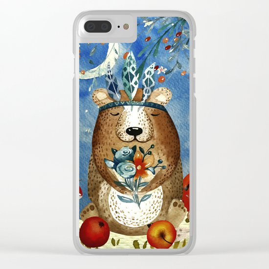 Autumn Woodland Friends Bear Forest Illustration Clear iPhone Case