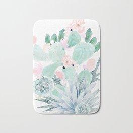 Pastel Cactus Floral Bath Mat