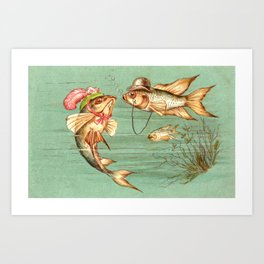 Humanized Fish Courting Art Print